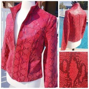 NWOT Vintage Red Leather Snakeskin Jacket Size 12